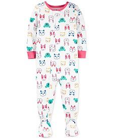 Carter's Toddler Girls Cotton Footed Animal Pajamas