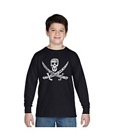 Boy's Word Art Long Sleeve T-Shirt - Pirate Captains, Ships And Imagery