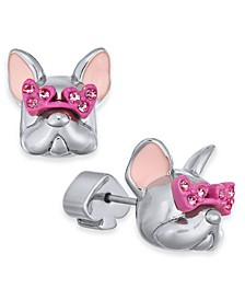 Pavé Heart-Glasses Bulldog Stud Earrings