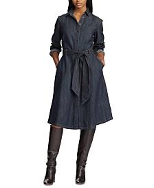 Lauren Ralph Lauren Petite Belted Cotton Denim Shirtdress