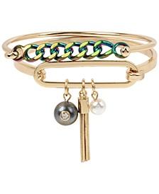 Two-Tone 2-Pc. Set Chain Link & Charm Bangle Bracelets
