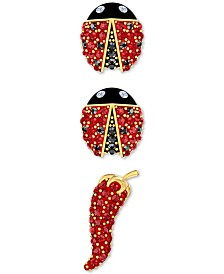 Swarovski Gold-Tone 3-Pc. Set Pavé Pepper & Ladybug Mismatch Stud Earrings