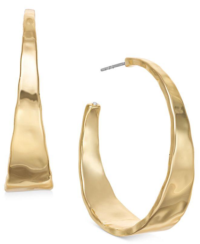 """Style & Co Hammered Metal Medium Hoop Earrings 1-.5"""", Created for Macy's"""
