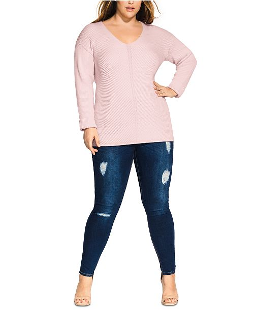 City Chic Trendy Plus Size V-Neck Sweater