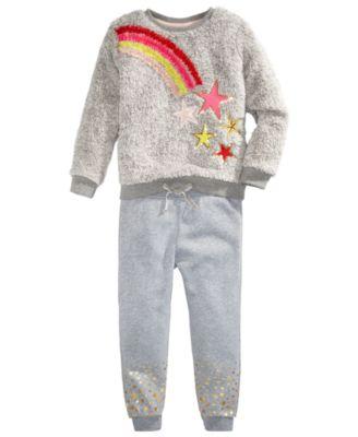 Little Girls Faux-Fur Rainbow Star Sweatshirt Set, Created for Macy's