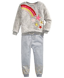 Little Girls Faux-Fur Rainbow Star Sweatshirt Set, Created For Macy's