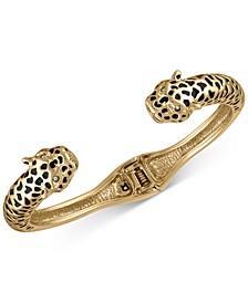 Gold-Tone Leopard Hinge Cuff Bracelet