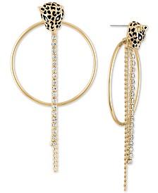 RACHEL Rachel Roy Crystal Leopard Doorknocker Drop Earrings
