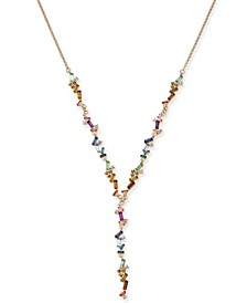 """INC Gold-Tone Multi-Stone Lariat Necklace, 24"""" + 3"""" extender, Created For Macy's"""