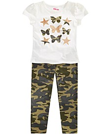 Toddler Girls Butterfly T-Shirt & Camo-Print Leggings, Created for Macy's