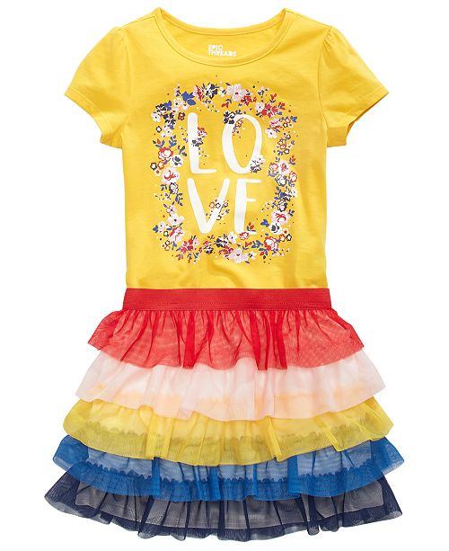 Epic Threads Little Girls Love T-Shirt & Tiered Skirt, Created for Macy's