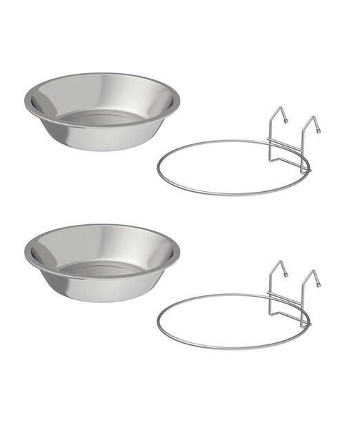 PetMaker Stainless-Steel Hanging Pet Bowls - Set of 2