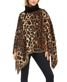 Cejon Animal-Print Poncho