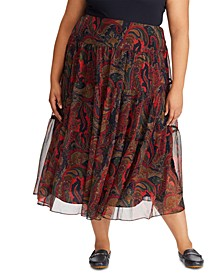 Plus Size Paisley-Print Georgette Tiered Peasant Skirt
