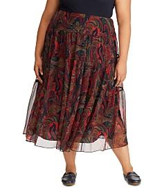 Lauren Ralph Lauren Plus Size Paisley-Print Georgette Tiered Peasant Skirt
