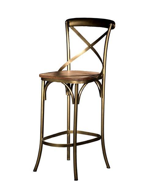 Villa2 VILLA 2 X Back Solid Iron Wood Armless Barstool with Footrest