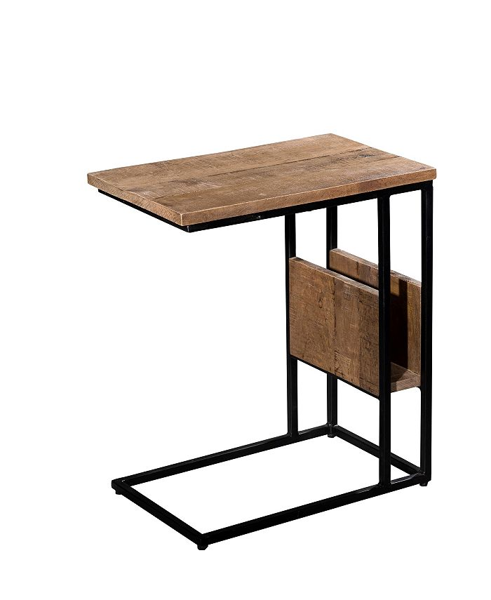 Villa2 - Tray Table with magazine rack in Solid Wood Iron finished in Weathered Vintage Black Finish.