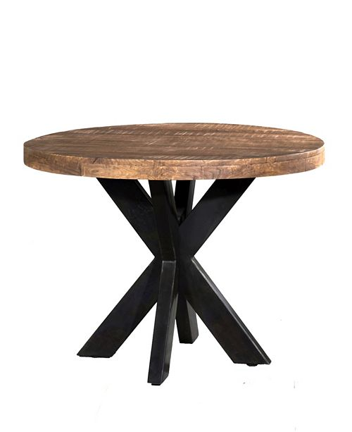 VILLA 2 Solid Wood Iron X Base 39 Round Dining Table
