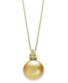 """Cultured Golden South Sea Pearl (10mm) & Diamond Accent 18"""" Pendant Necklace in 14k Gold"""