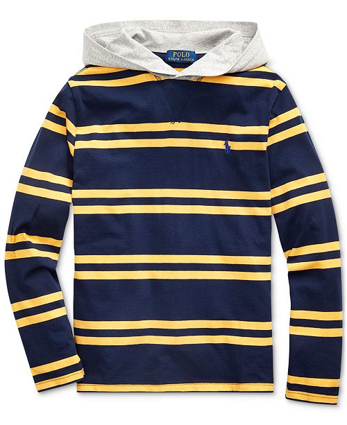 Polo Ralph Lauren Big Boys Navy Stripes Hooded T-Shirt
