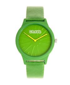 Crayo Unisex Splat Green Leatherette Strap Watch 38mm