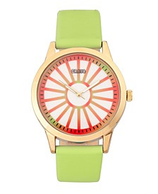 Unisex Electric Light Green Leatherette Strap Watch 41mm