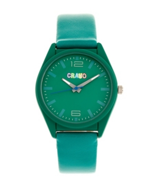 Unisex Dynamic Teal Leatherette Strap Watch 36mm