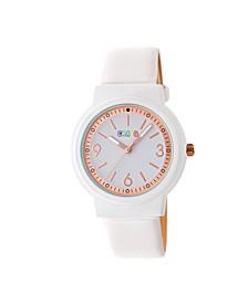 Unisex Vivid White Leatherette Strap Watch 36mm