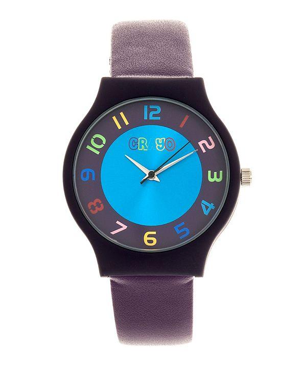Crayo Unisex Jubilee Purple Leatherette Strap Watch 36mm