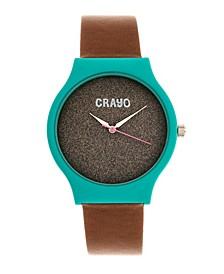 Unisex Glitter Brown Leatherette Strap Watch 36mm