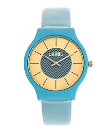 Unisex Trinity Powder Blue Leatherette Strap Watch 36mm