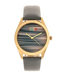 Unisex Graffiti Gray Genuine Leather Strap Watch 35mm