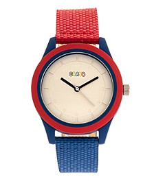 Unisex Pleasant Red, Blue Leatherette Strap Watch 39mm