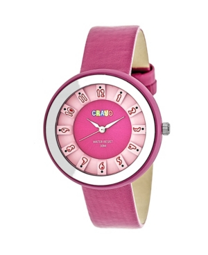 Unisex Celebration Hot Pink Genuine Leather Strap Watch 38mm