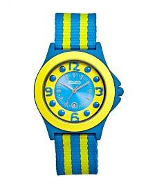 Crayo Unisex Carnival Cerulean, Yellow Nylon Strap Watch 39mm