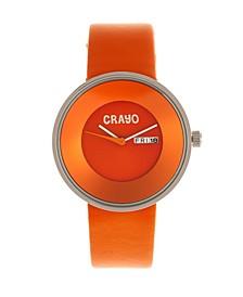 Unisex Button Orange Genuine Leather Strap Watch 40mm