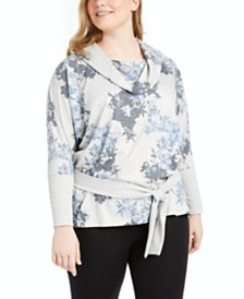 Ideology Plus Size Printed Cowl-Neck Top, Created for Macy's