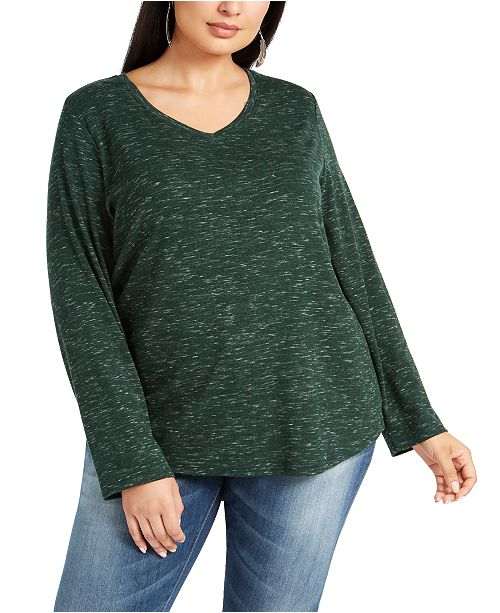 Style & Co Plus Size Melange Top, Created for Macy's