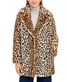Petite Leopard-Print Faux-Fur Coat