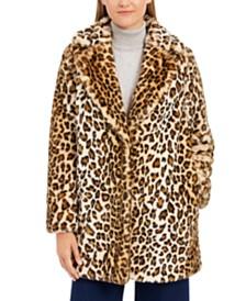 Calvin Klein Petite Leopard-Print Faux-Fur Coat