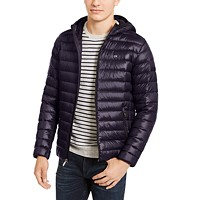 Deals on Calvin Klein Mens Packable Down Hooded Puffer Jacket