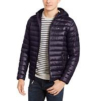 Deals on Calvin Klein Mens Packable Down Hooded Puffer Jacket