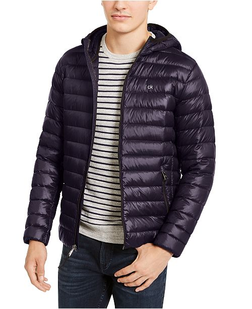 Calvin Klein Men's Packable Down Hooded Puffer Jacket, Created for Macy's