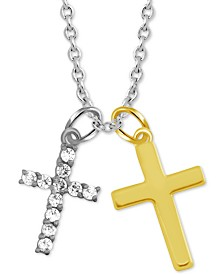 """Symbols of Strength Cross Duo 18"""" Pendant Necklace in Fine Silver-Plate & Gold-Plate"""