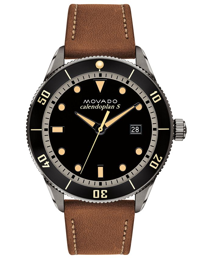 Movado - Men's Swiss Heritage Series Calendoplan Cognac Leather Strap Watch 43mm