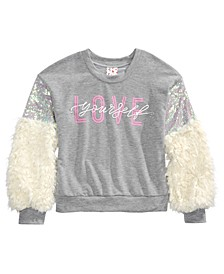 Big Girls Faux Fur Sequin-Sleeve Top