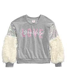 Belle Du Jour Big Girls Faux Fur Sequin-Sleeve Top