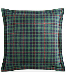 Winter Plaid Flannel European Sham, Created for Macy's