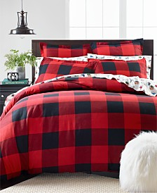 Martha Stewart Collection Buffalo Plaid Flannel Full/Queen Duvet Cover, Created for Macy's