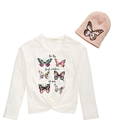 Belle Du Jour Big Girls 2-Pc. Sequined Butterfly Sweatshirt & Beanie Set
